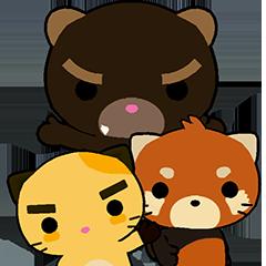 Cute Cat, Red Panda, and Bear